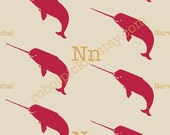 N is for narwhal, fabric-ready digital image