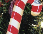hand painted candy cane ornament