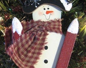 hand painted  wood snowman skier ornament