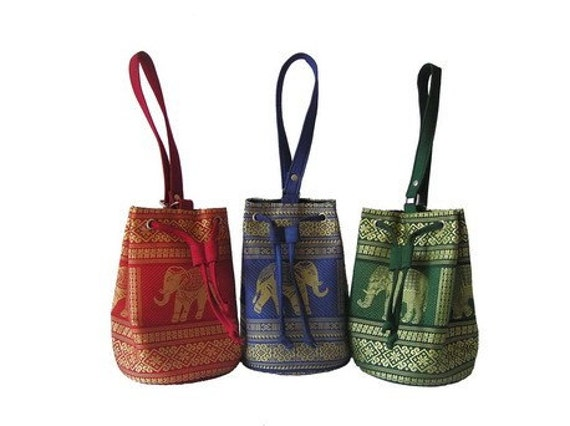 Thai Cotton Cone/Spindle Bag--Red