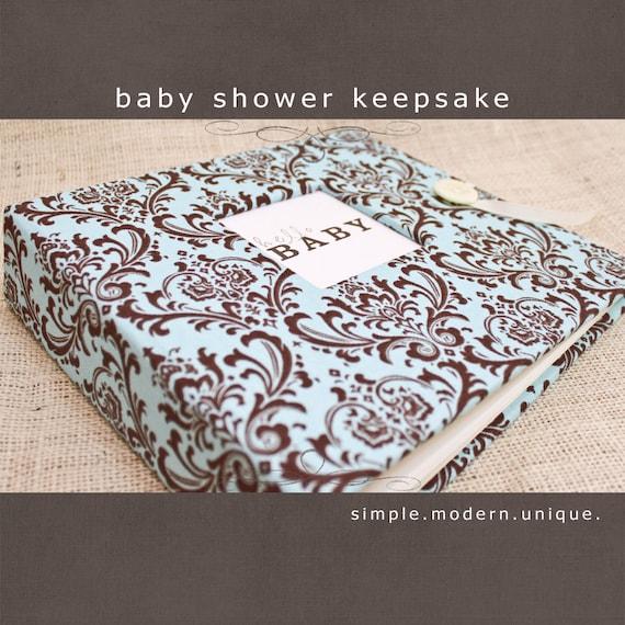 baby shower keepsake album teal and brown damask