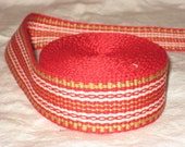 Red, gold, and white inkle woven trim