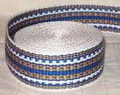 White, royal blue, and gold hand-woven inkle trim (over 14 feet)