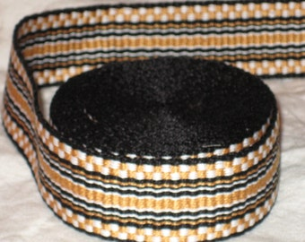 Black, white, and gold hand-woven inkle trim (over 14 feet)