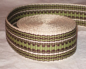 Sage green, chocolate brown, and cream hand-woven inkle trim (over 14 feet)