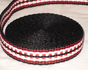 Black, red, and white hand-woven inkle trim (over 14 feet)