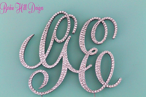 Stunning  Two Letter Custom Crystal Monogram Cake Topper