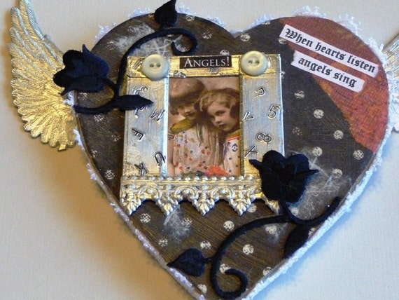 Heart  Shaped Wall Hanging With Angels And Wings