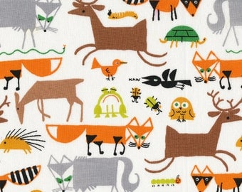 Forest Friends from Happy Drawing - Cloud9 Organic fabrics  - One Yard