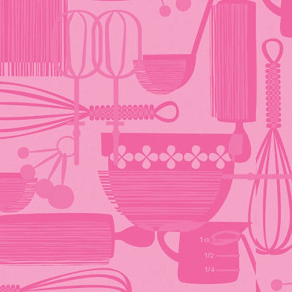 Utensils in Pink from Kitchy Kitchen by Maude Asbury - SPECIAL PRICE on ONE yard cuts