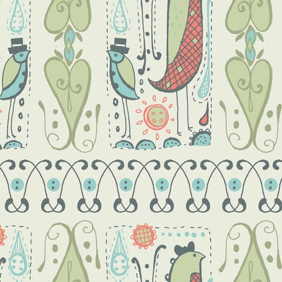 Bird Duet in Turquoise from Feather N Stitch by Sarah Watts - SPECIAL PRICE on Half Yards