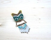 Bear Totem - Hand painted Assembled Chevron Seed Bead Brooch Pin