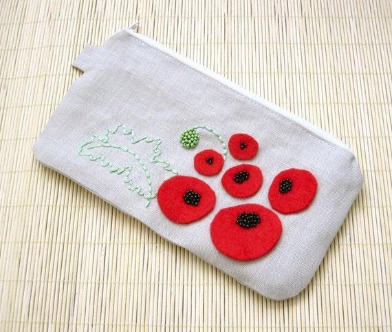 SALE - Flanders Fields - Red Poppy Embroidery Linen Pouch