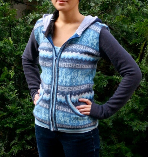 Aztec Llama - Upcycled Vintage Patterned Knit Sweater Hoodie