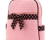 Personalized Pink with Brown and Pink Polka Dot Ribbon Girls Backpack