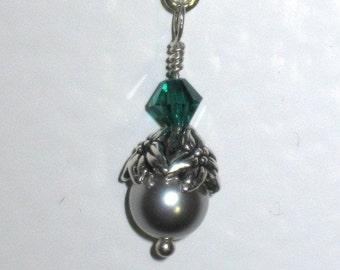 Silver Pearl Green Crystal Dangle Earrings, Swarovski, SALE
