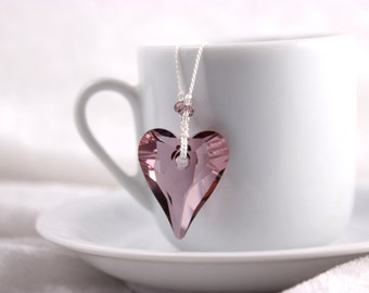 Pink Swarovski Heart Necklace, Knotted White Silk Cord
