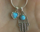 opal heart and filigree hand hamsa two symbols in one charm necklace