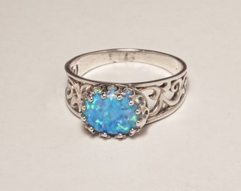 silver opal ring - flower lace filigree opal bright delicate ring