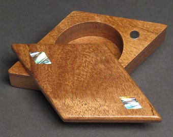 Pivoting Stash Box with Abalone Inlays, Magnetic Snap Closure, 'The Diamond Box'