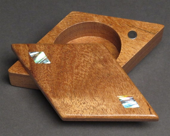 Pivoting Ring Box with Abalone Inlays, Magnetic Snap Closure, 'The Diamond Box'