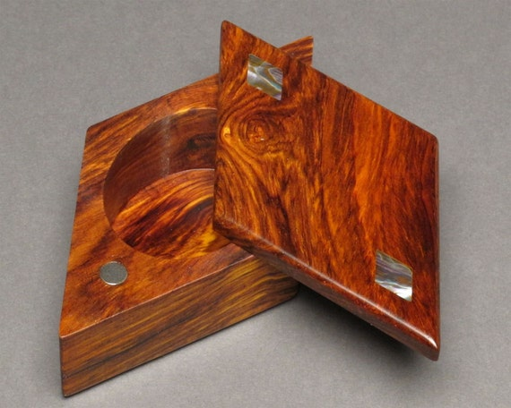 Ring Box with Diamond Abalone Inlays, Cocobolo