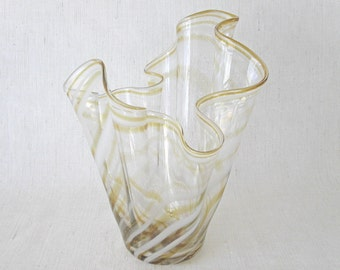 Hand Blown Amber, White, & Clear Glass Vase - Cristales de Chihuahua