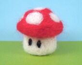 Mario Mushroom WoolyGeeks Needle Felted Figure