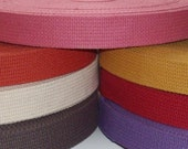 20m 1 inch heavyweight cotton webbing for key fobs, straps, belts