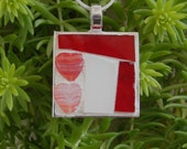 Two Hearts Mosaic Pendant Stained Glass Red White Necklace