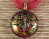 Iridescent Dragonfly Necklace  Czech Button Fuschia Green Gold Pendant