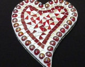 Stained Glass Heart  Mosaic Red White Mirror Tile Valentine Wall Art