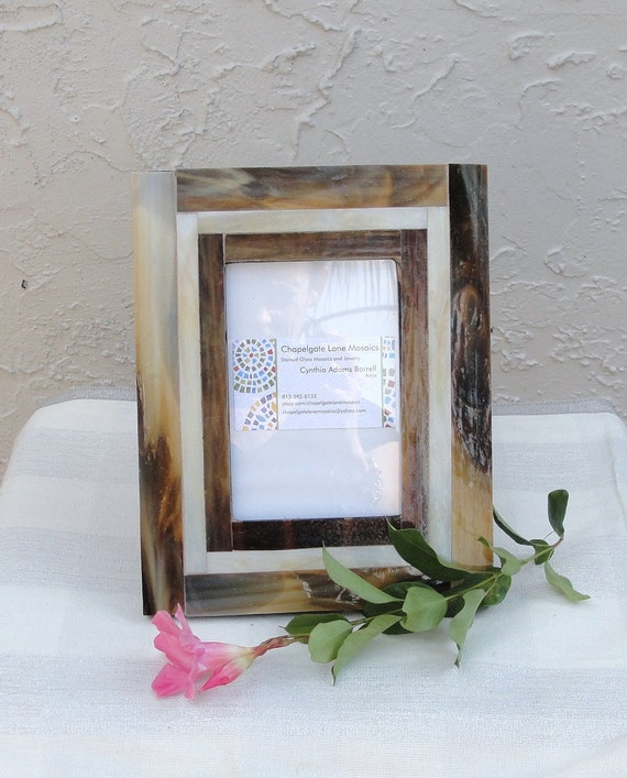 Mosaic Stained Glass Picture Frame Brown Tan Cream
