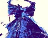 Fashion Illustration .Blue Silk Dress .Fashion illustration/figurative Art By  Irish Artist Ros Webb