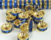 Crystal Rhinestone Beads Rhinestone Rondell Bead 18 pcs 6 mm Sapphire Blue Crystal Gold Vintage B-30