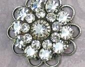 Crystal rhinestone flower Large Clear Crystal Swarovski antique silver filagree bead
