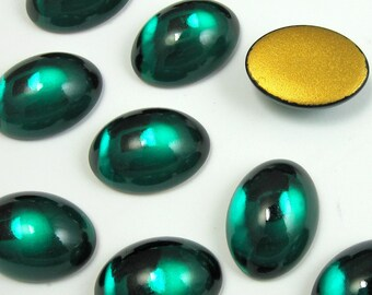 Vintage Glass Cabochons 6 pcs SWAROVSKI 18x13 mm Emerald Green Stones S-211