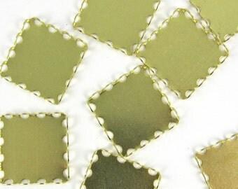 Brass Lace Edge Settings 12 pcs 18 mm  Square Cabochon Setting M-42