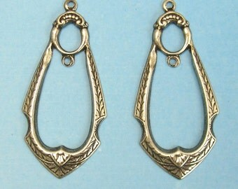 Earring Components 2 pcs Antique silver brass stampings jewelry findings M-123