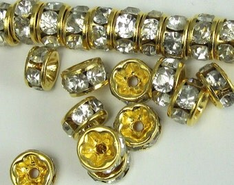 Crystal Rhinestone Beads 18 pcs 7 mm Clear Crystal Gold Vintage Rondell B-22 vsb