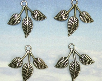 Leaf Charms Pendant 4 pcs antique silver brass stampings jewelry findings M-129