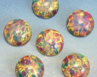 Fire Opal Cabochon 6 pcs 13 mm Pink Vintage Glass Stones S-97 Y