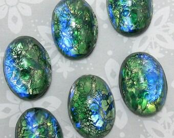 Green Opal Cabochon 18x13mm 4 pcs Vintage Glass Stones S-14