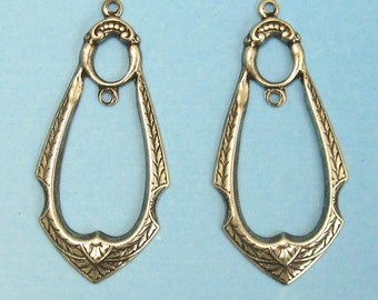 Earring Components Antique silver brass stampings jewelry findings M-123