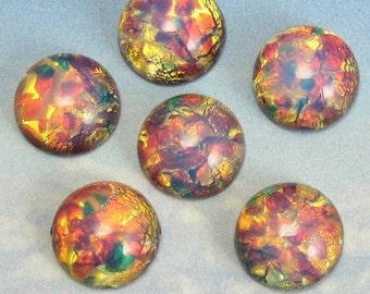 Fire Opal Stones Vintage Glass Cabochon 24 pcs 13mm  S-97 BULK 14 B