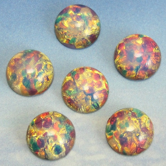 Harlequin Opal 6 pcs 13mm Vintage Glass Pink Fire Cabochon Stones S-97 Y
