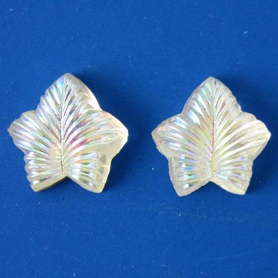 Leaf Vintage Glass Stones 6 pcs RARE Beautiful 12mm Cabochons S-125