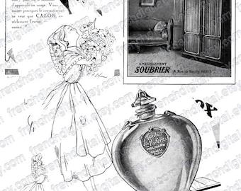 french vintage ad, collage sheet, collage supplies, belle epoque, 1920, children, perfume, fly, atc, ephemera images, ephemera, download