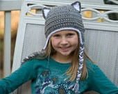 Crochet Kitty Cat Hat - Crochet Hat Girl Hat Ear Flap Hat Animal Hat Baby Hat