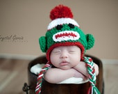 Christmas Sock Monkey Crochet Hat - Christmas Hat Baby Hat Earflap Hat Animal Hat